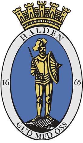 bredbånd i Halden og bilde av kommunevåpen